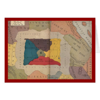 Map of Oz and surrounding countries and deserts Greeting Card