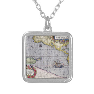 Map of Pacific Square Pendant Necklace