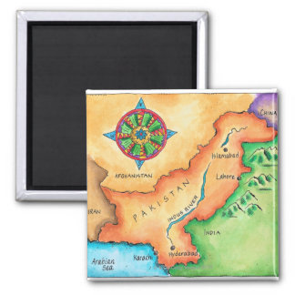 Map of Pakistan 2 Inch Square Magnet