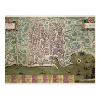 Map of Palermo, from 'Civitates Orbis Terrarum' by Post Cards