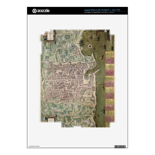 Map of Palermo, from 'Civitates Orbis Terrarum' by Skins For iPad 3