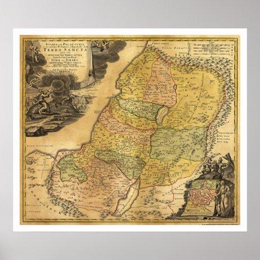 Map of Palestine by Johann Baptist Homann 1715 Poster