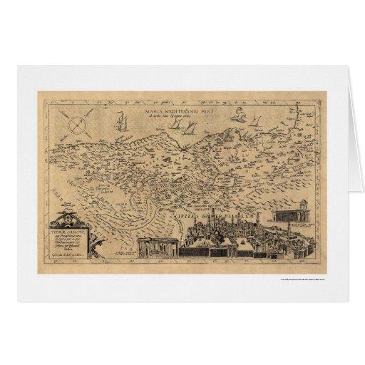 Map of Palestine by Tilemann Stella 1600 Card