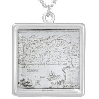 Map of Palestine, from a Passover Haggadah Square Pendant Necklace