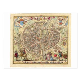 Map of Paris, 1576 Postcard