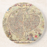 """Map of Paris, 1576 Sandstone Coaster<br><div class=""""desc"""">&quot;Here is the true natural portrait of the town, city, university of Parisy. Map of Paris, 1576&quot; This file comes from the Biblioth&#232;que nationale de France (BNF) website. The BNF has determined that this file is in the public domain in France. This work is in the public domain in its...</div>"""