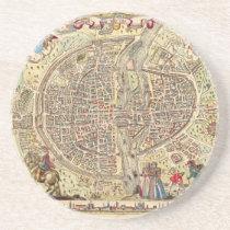 Map of Paris, 1576 Sandstone Coaster