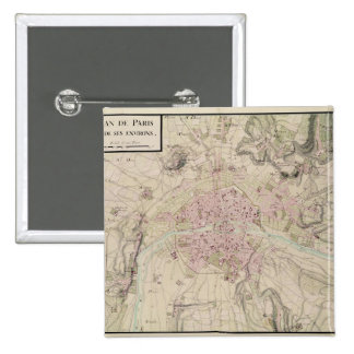 Map of Paris and its Surrounding 2 Inch Square Button