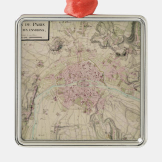 Map of Paris and its Surrounding Metal Ornament