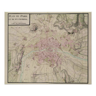 Map of Paris and its Surrounding Poster