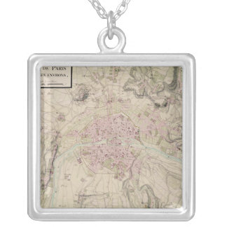 Map of Paris and its Surrounding Silver Plated Necklace