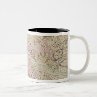 Map of Paris and its Surrounding Two-Tone Coffee Mug