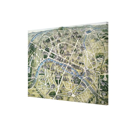 Map of Paris during the 'Grands Travaux' Canvas Print