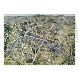 Map of Paris during the 'Grands Travaux' Card