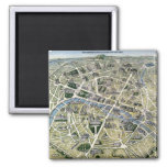 Map of Paris during the 'Grands Travaux' 2 Inch Square Magnet