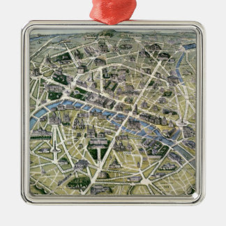 Map of Paris during the 'Grands Travaux' Metal Ornament