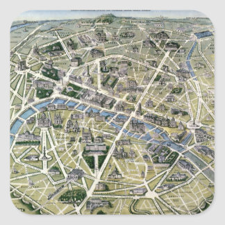 Map of Paris during the 'Grands Travaux' Square Sticker