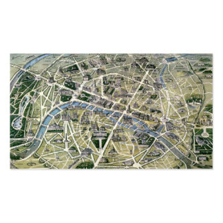 Map of Paris during the period of the Grands Business Card Template