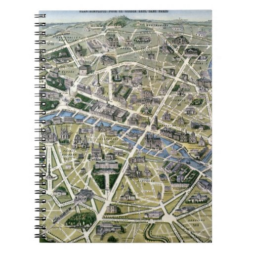 Map of Paris during the period of the Grands Spiral Note Book