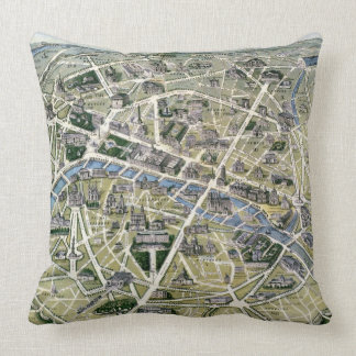 Map of Paris during the period of the Grands Throw Pillows