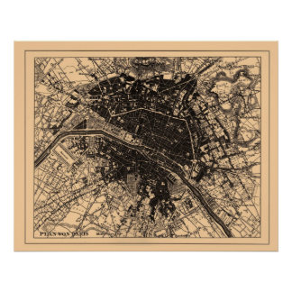 Map of Paris France, circa 1890 - 1907 Poster