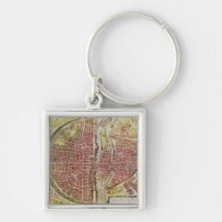 Map of Paris from 'Civitates orbis terrarrum' Silver-Colored Square Keychain