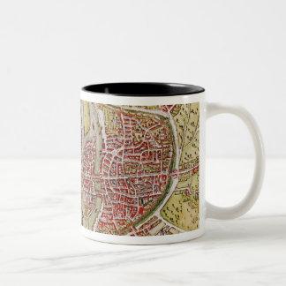 Map of Paris from 'Civitates orbis terrarrum' Two-Tone Coffee Mug