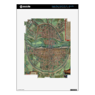 Map of Paris, from 'Civitates Orbis Terrarum' by G Skins For iPad 3