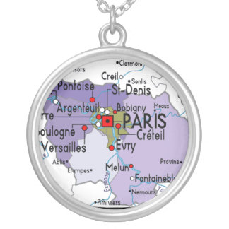 Map of Paris Silver Necklace
