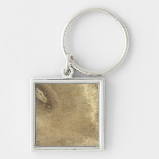 Map of Part of the Island of Hawaii Silver-Colored Square Keychain