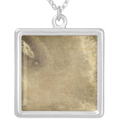 Map of Part of the Island of Hawaii Square Pendant Necklace