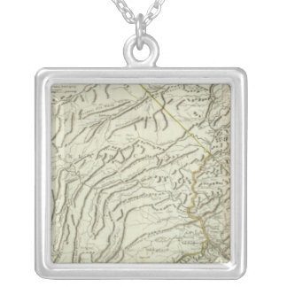 Map Of Pennsylvania 2 Square Pendant Necklace