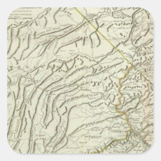 Map Of Pennsylvania 2 Square Sticker