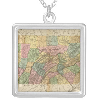 Map of Pennsylvania and New Jersey Silver Plated Necklace