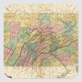 Map of Pennsylvania and New Jersey Square Sticker