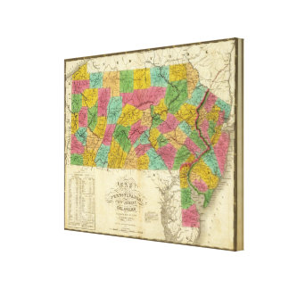 Map of Pennsylvania, New Jersey, and Delaware Gallery Wrapped Canvas