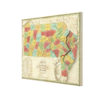 Map Of Pennsylvania New Jersey And Delaware Canvas Prints