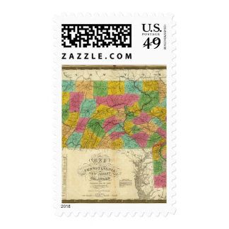 Map of Pennsylvania, New Jersey, and Delaware Stamp