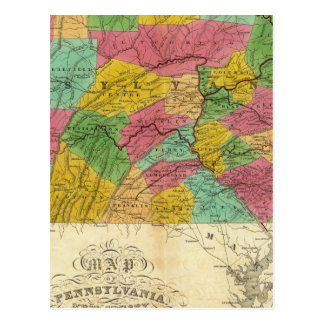 Map of Pennsylvania, New Jersey, and Delaware Postcard