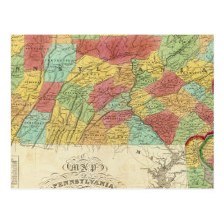 Map Of Pennsylvania New Jersey And Delaware Postcard