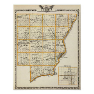Map of Peoria County and Minonk Poster