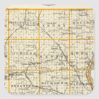 Map of Peoria County and Minonk Square Sticker