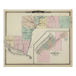 Map of Pepin County and Village of Durand Poster
