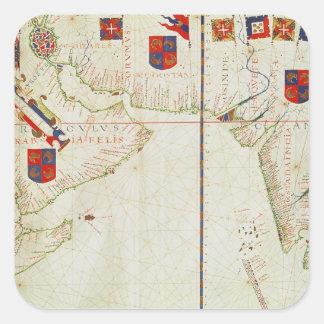 Map of Persia, Arabia and India Square Sticker