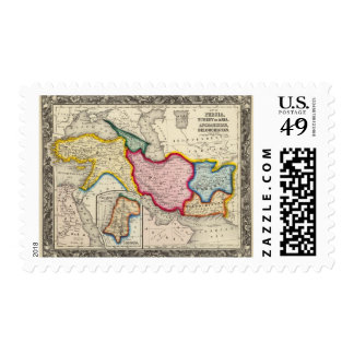 Map of Persia, Turkey In Asia Afghanistan Stamps