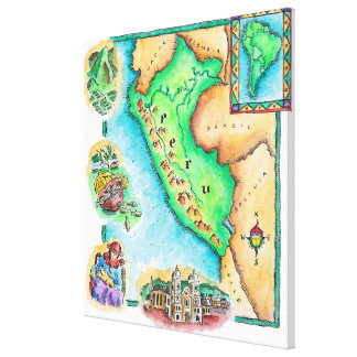 Map of Peru Canvas Print