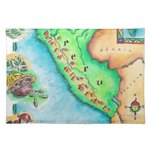 Map of Peru Cloth Placemat