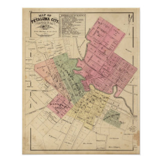 Map of Petaluma City 1877 Poster