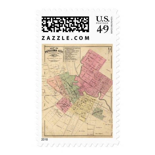 Map of Petaluma City 1877 Stamps