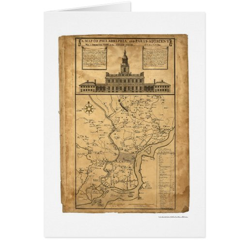 Map of Philadelphia and Parts Adjacent 1752 Greeting Card